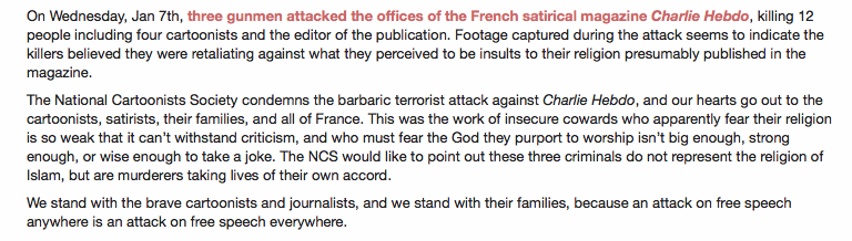 NCSstatement support Charlie Hebdo